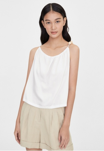 Pomelo white Purpose Wood Bead Strap Tank - White 96922AA31AFC63GS_1