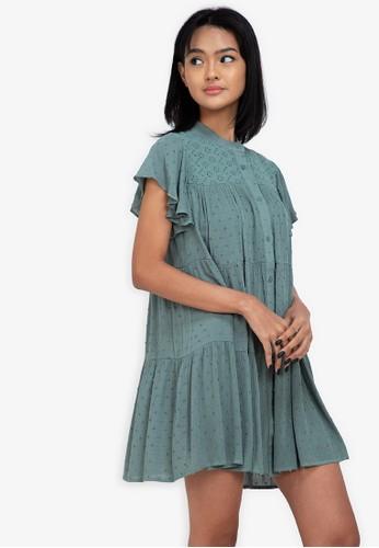 ZALORA BASICS green Eyelet Shirt Dress 52B03AAD577994GS_1