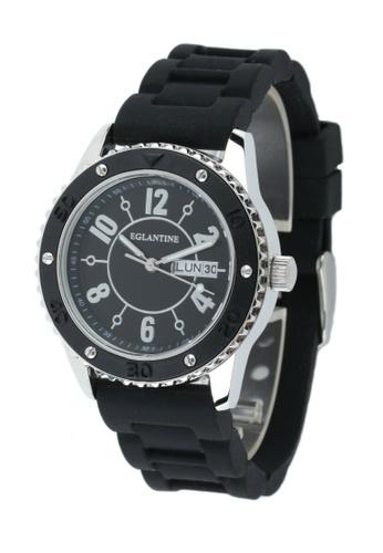 EGLANTINE silver EGLANTINE® Vanessa Ladies Steel Quartz Watch Black Dial on Black Rubber Strap BDE55ACB148456GS_1