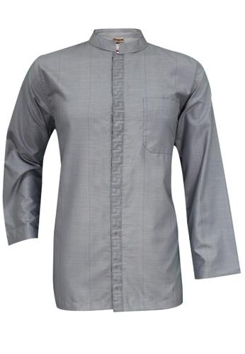 SULTAN grey SULTAN KURTA - BAJU RAIHAN D2 - COLLAR  FULL SLEEVES 98B84AAE65312DGS_1