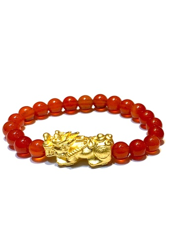 LITZ red and gold [SPECIAL] LITZ 999 (24K) Gold Mini Pixiu with free Red Agate Ring 02B54ACDA4F7A9GS_1
