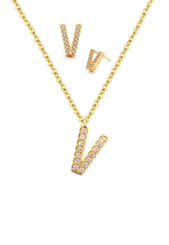"""Atrireal gold ÁTRIREAL - Initial """"V"""" Necklace + Earrings Jewellery Set in Gold EFEBAAC82C273AGS_1"""
