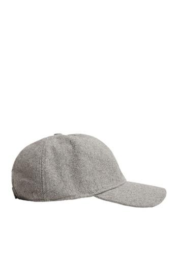 MANGO Man grey Wool-Blend Baseball Cap EF204AC96D87BFGS_1