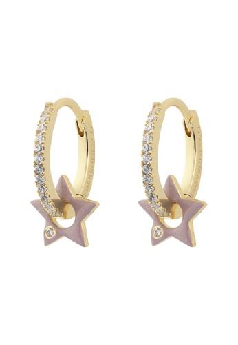 Wanderlust + Co gold Star Taupe & Gold Hoop Earrings 17510AC5DBD6FCGS_1