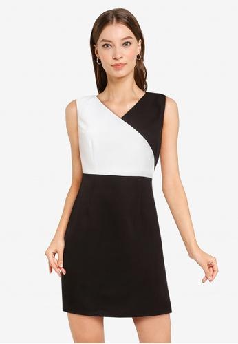 ZALORA WORK black Colourblock V Neck Dress C6B71AA07E8637GS_1