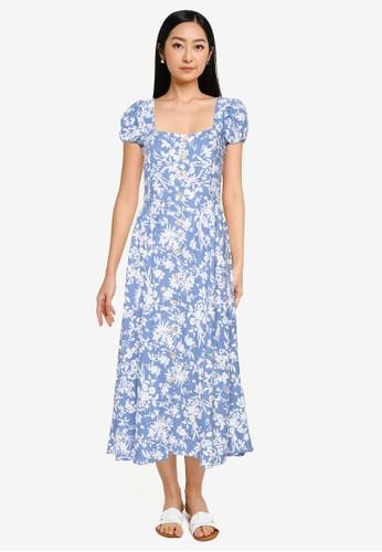 Springfield blue Midi Dress With Detailed Back 610BBAA9CEB801GS_1