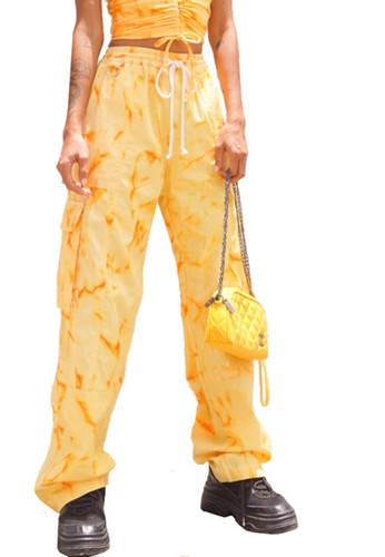 Cute Mistake orange Tie Dye Cargo Pants - Orange Soda 30BB0AA35A2115GS_1