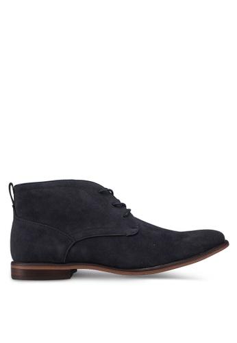 Burton Menswear London navy Navy Leather Look Desert Boots AE2F5SH00FC7D9GS_1