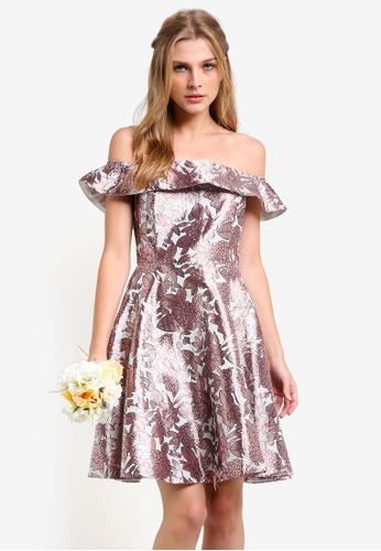 ZALORA pink Bridesmaid Off Shoulder Structured Fit & Flare Dress E1EA6AAF43FDDDGS_1
