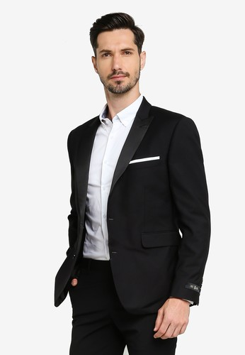 Burton Menswear London black Black Stretch Skinny Fit Tuxedo Suit Jacket 3F1EAAA212E56DGS_1