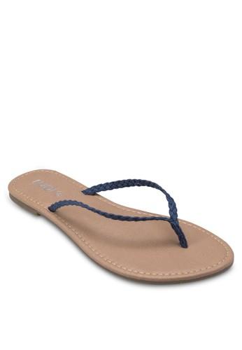 Tea 編織帶夾腳拖, zalora 衣服尺寸女鞋, 鞋