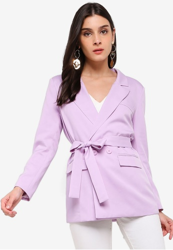 ZALORA purple Long Line Blazer With Self Tie DC356AA1D530BBGS_1