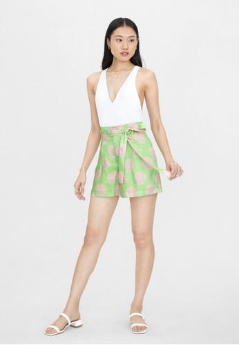 Pomelo green Shell Print High Waist Shorts - Green F927EAA05B9B16GS_1