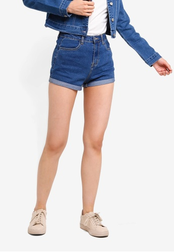 ZALORA BASICS blue Basic Denim Turn-Up Shorts 1A583AA58ECCF7GS_1