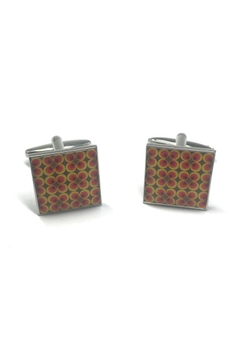 Splice Cufflinks Funky Retro Red Yellow and Brown Small Pattern Cufflinks SP744AC15ACASG_1