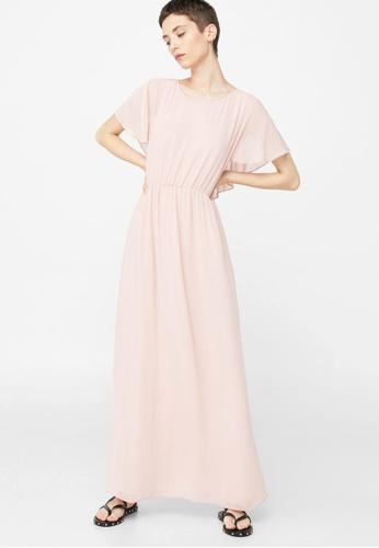 Mango pink Ruffled Sleeve Dress MA193AA56BTBMY_1