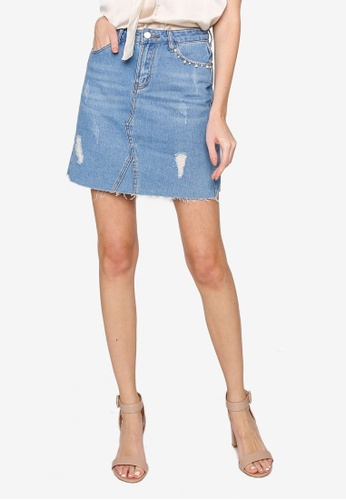 Hopeshow blue Ripped Hem Denim Mini Skirt ED2E2AA9E55954GS_1