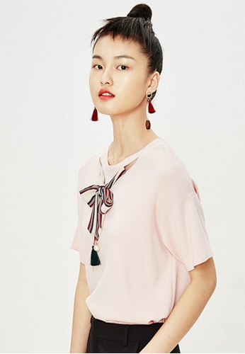 Hopeshow pink Short Sleeve Knitted Blouse with Ribbon Tie 9EB40AAE3542B7GS_1