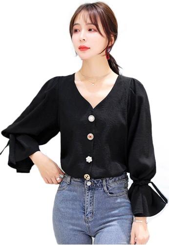 Sunnydaysweety black V-Neck Flared Sleeve Chiffon Shirt A090901BK 9E240AA6171BEAGS_1