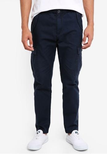 United Colors of Benetton 藍色 素色側口袋工作長褲 E3635AAA99D512GS_1