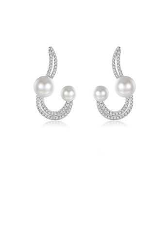 Glamorousky white Elegant Fashion Pearl Earrings with Austrian Element Crystal 23BA2ACFEF8622GS_1