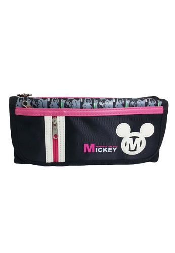 Disney Mickey black and pink Disney Mickey Mouse Wonderful Time Pencil Bag With Pocket AEDD7KC9730223GS_1