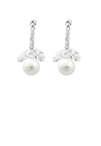 Glamorousky white Glimmering Fashion Pearl Earrings with Silver Austrian Element Crystal and CZ F3E0BAC5A1B6B5GS_1