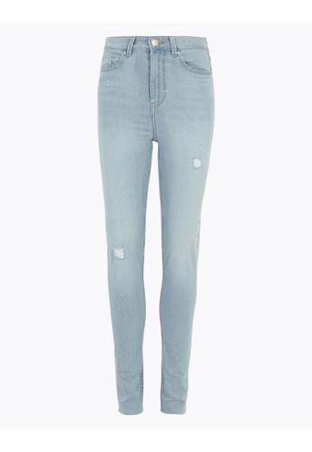MARKS & SPENCER blue M&S Ivy High Waisted Distressed Skinny Jeans E58A1AA560A4F9GS_1