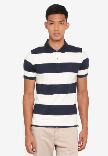 Selected Homme blue Haro Stripe Polo Shirt D98FEAA8092DFFGS_1