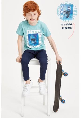 DeFacto green Boy Knitted Short Sleeve T-Shirt 3B3C8KA3F517F2GS_1