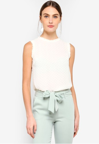 FORCAST white Jada Frill Neck Top EFC00AA5D01833GS_1