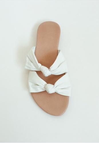 a32fca7909b2 Buy ASHLEY SUMMER CO Handmade Ribbon Leather Sandals Slip Ons - White  Online on ZALORA Singapore
