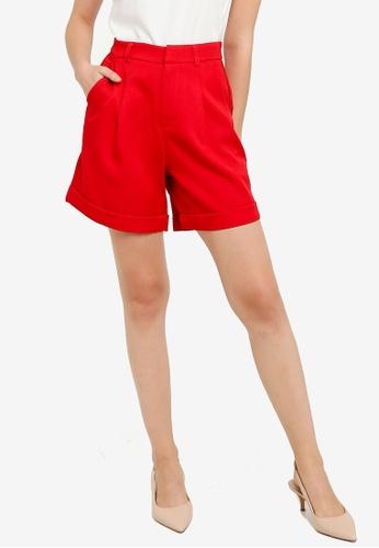 ZALORA WORK red High Waist Shorts 76071AA10C2814GS_1