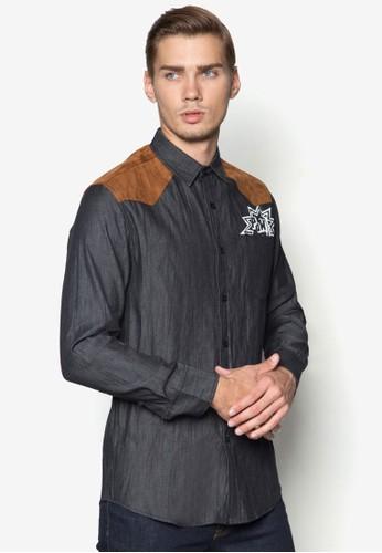 雙色拼肩丹寧長袖襯衫, 服zalora退貨飾, 服飾