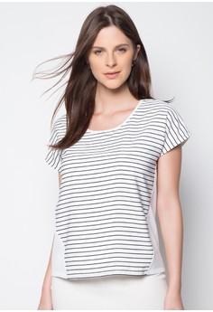 Woven Stripes Hybrid Short Sleeve Top