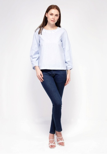 nicole blue nicole-Round Neckline with Embroidery Detail Long Sleeve Striped Blouse 5605DAAA36E643GS_1