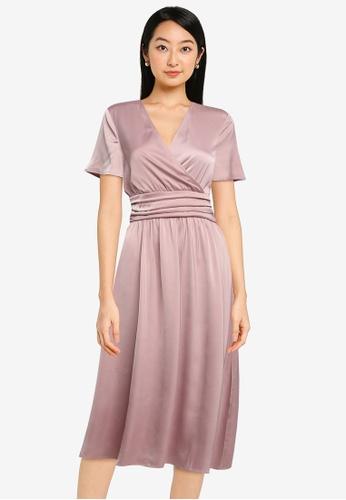 ZALORA BASICS pink Satin Wrap Midi Dress A96B7AABD0DF80GS_1