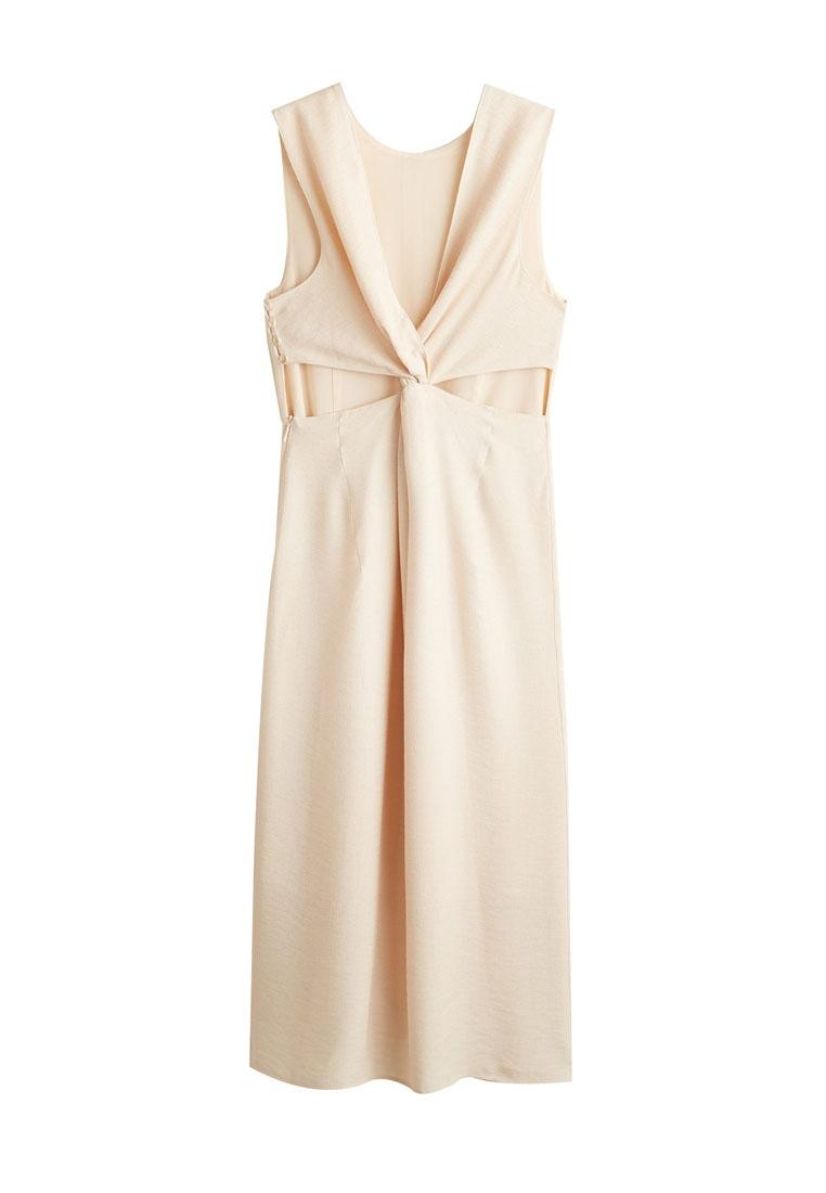 White Natural Dress Textured Knot Mango I0TZq4xwx