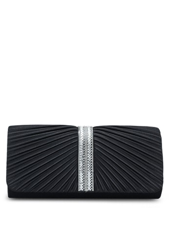 Unisa black Pleated Dinner Clutch With Glittering Stones & Crystal Embellishment 7E7BBACC6A1EBBGS_1