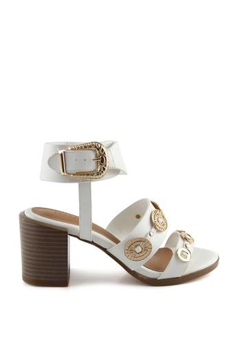 London Rag white Sally Block heel Sandals with Golden Trims 11E8ESHE669EFEGS_1