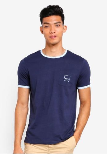 MANGO Man 藍色 Logo口袋T恤 3B103AA57921DAGS_1