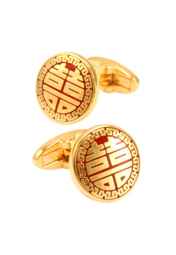 Kings Collection gold Double Happiness Round Gold Cufflinks (KC10022a) 5819EAC074B2B0GS_1