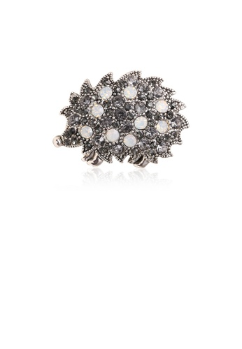 Glamorousky black Simple and Bright Piggy Brooch with Cubic Zirconia FFE80ACB2CA7DCGS_1