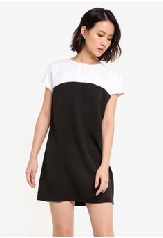 【ZALORA】 Essential Short Sleeve Colourblocked Dress