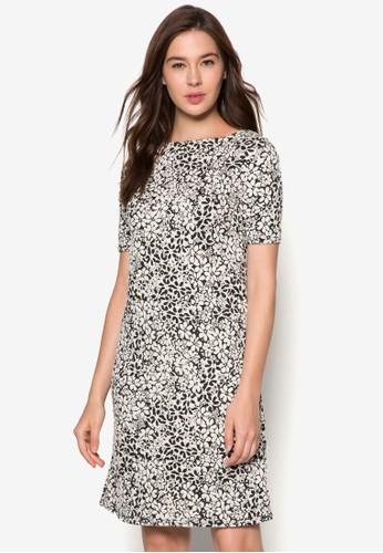 菊花提花短袖連身裙, 服飾zalora 包包 ptt, 洋裝