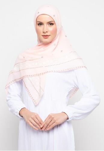 KASHKHA pink Hijab Square Poly Lace With Stone Half By Kashkha 75BDCAA1B58D0BGS_1