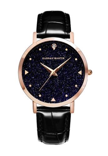 HANNAH MARTIN 黑色 汉娜马丁星空系女士腕表 - 皮纹黑 B1D00AC5552F97GS_1