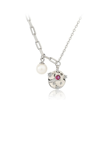 Glamorousky white 925 Sterling Silver Fashion Simple Geometric Round Flower Freshwater Pearl Pendant with Cubic Zirconia and Necklace AF8C9ACD7CD47AGS_1