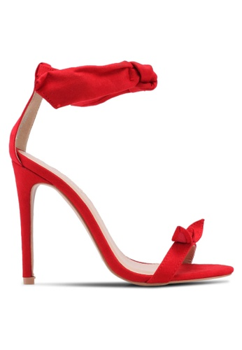 Public Desire red South Bow Detail Barely There Heels 00838SH163956DGS_1