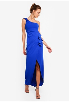479d6888ef60 30% OFF Goddiva One Shoulder Maxi Dress With Frill Pleats RM 259.00 NOW RM  180.90 Sizes 8 10 12 14 16